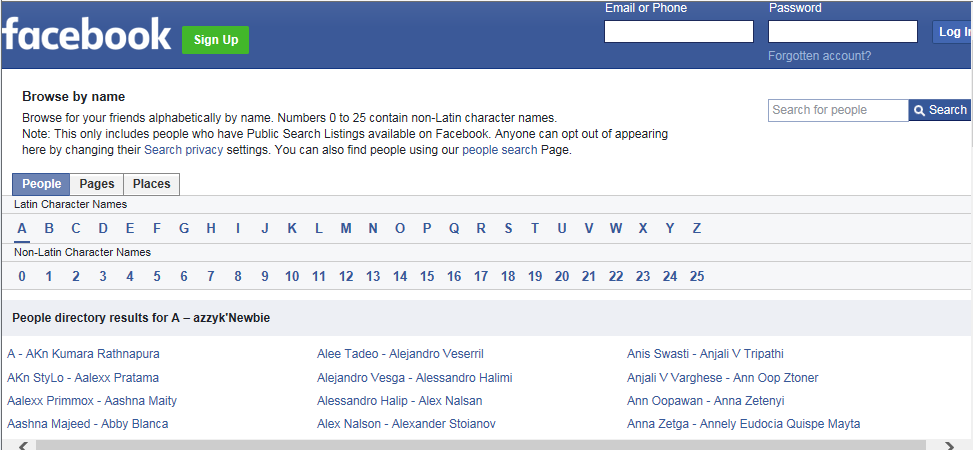 Facebook directory helps you in finding people without logging in