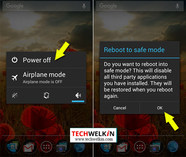 power option to reboot android in safe mode