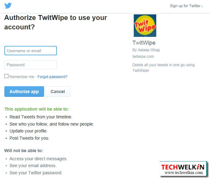 TwitWipe deletes all tweets from your Twitter account