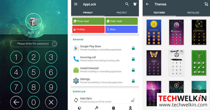 This image shows a collection of screenshots from AppLock