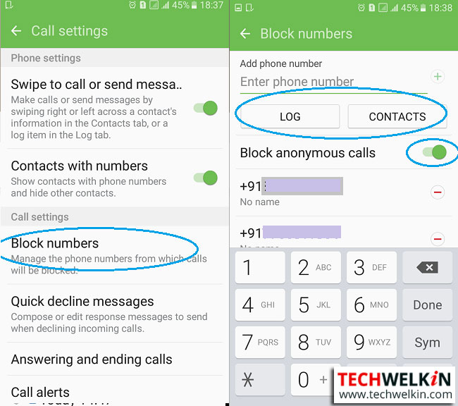 this image shows call blocking feature in Android dialer app