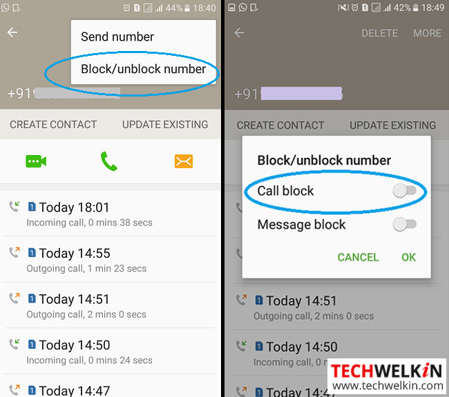 this image shows call block feature of Android in call history