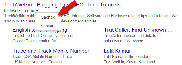 cached link in google search