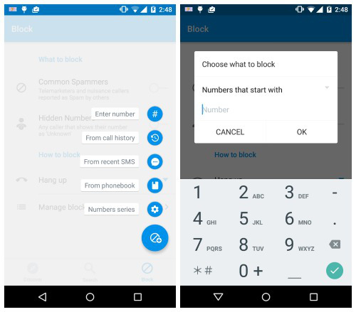 This image shows Truecaller screenshots displaying options for blocking phone calls.