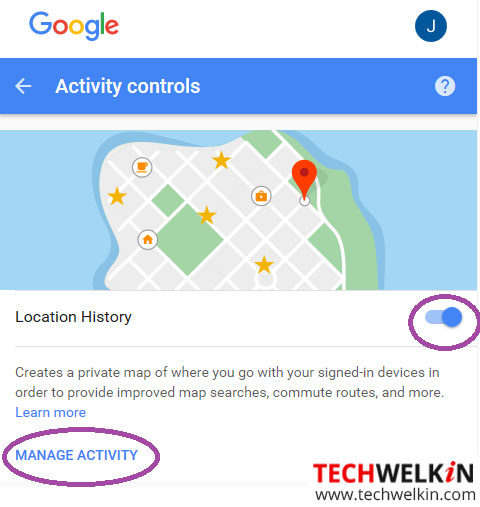 This image shows how to enable location history in your Google Account.