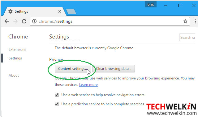 This image shows the option for content setting in Google Chrome