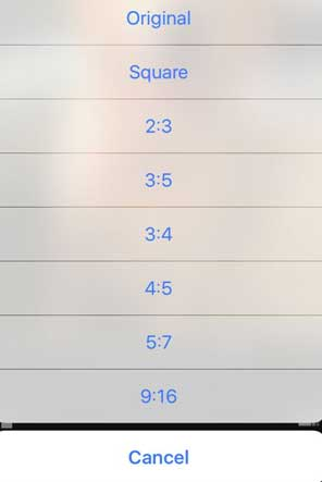 This image shows the aspect ratio list in iPhone and iPad