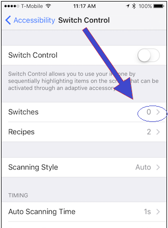 Switch control accessibility feature in iphone
