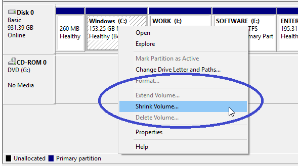 Shrink volume option in disk management tool
