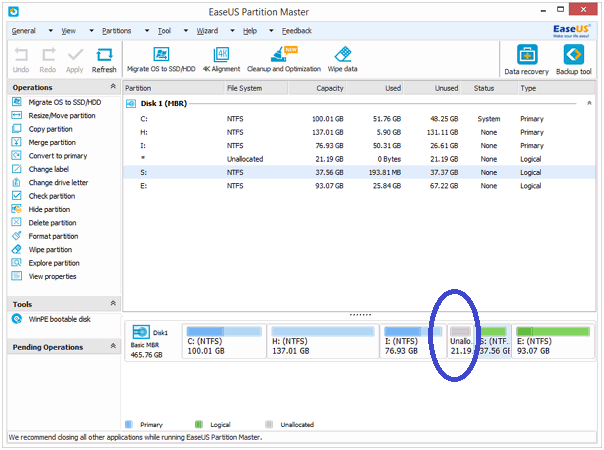 screenshot of easeus partition master