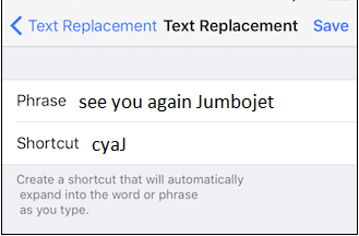 setting shortcut for phrases in Autocorrect of iPhone