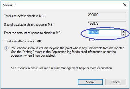 shrink dialog box in the disk management tool