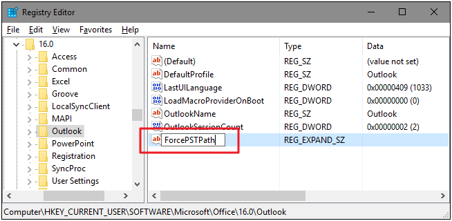 ForcePSTPath registry key