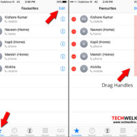 Edit and reorder favorites contacts in iphone