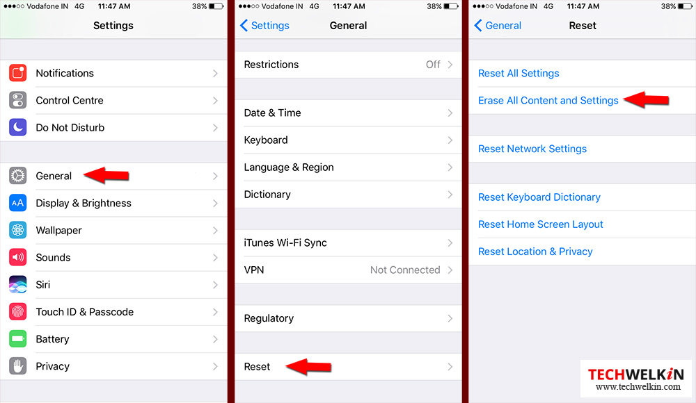 erase all content and settings in iphone