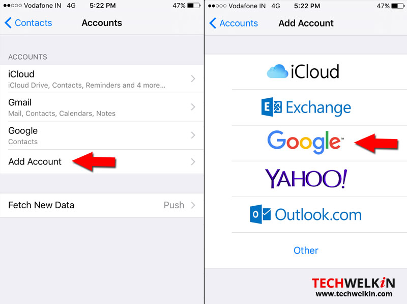 Add Google account in iPhone