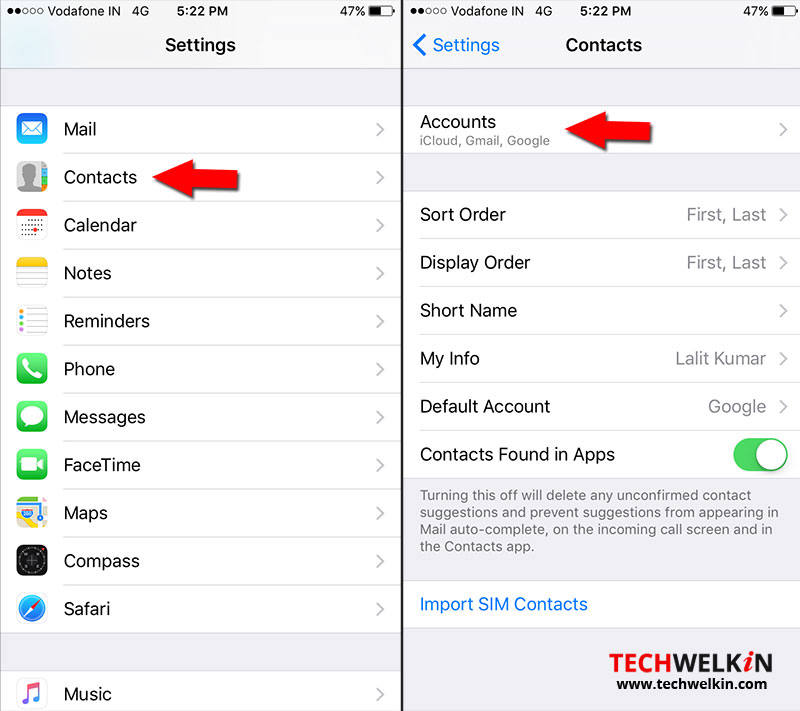 iphone contacts accounts