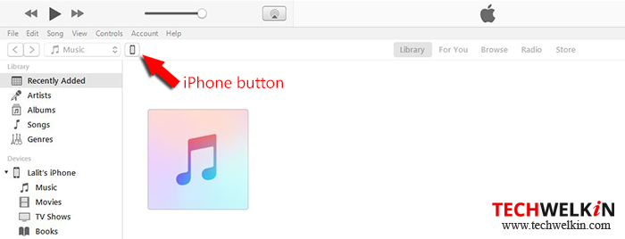 iphone button in itunes