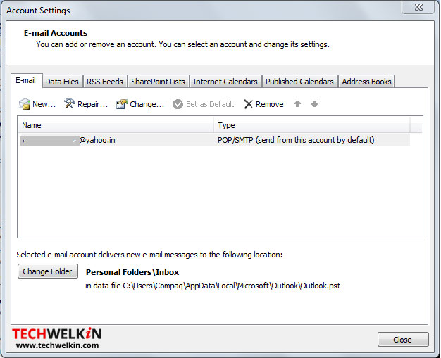account settings in outlook 2007