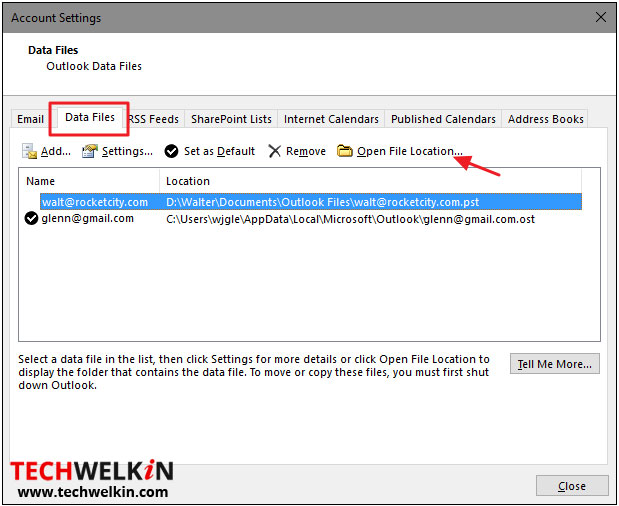 PST and OST file locations are visible under data files tab