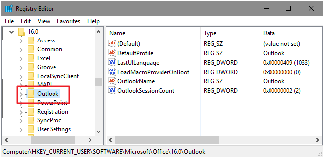 outlook key registry editor