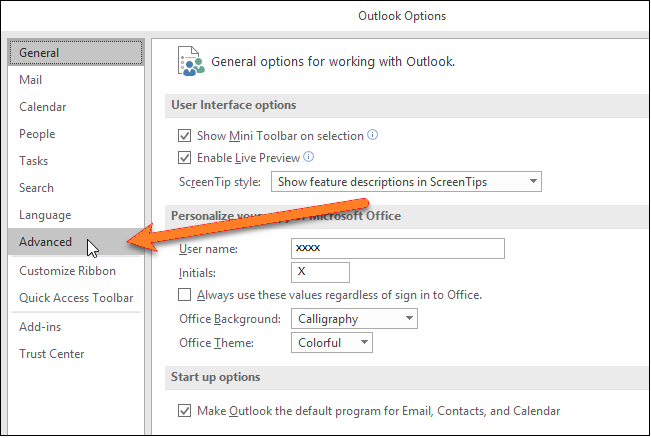 outlook options screen and advanced menu