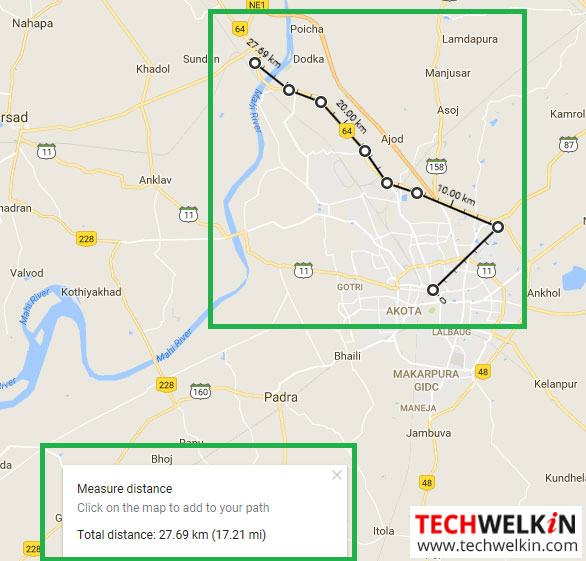 distance measurement by drawing trail in google maps