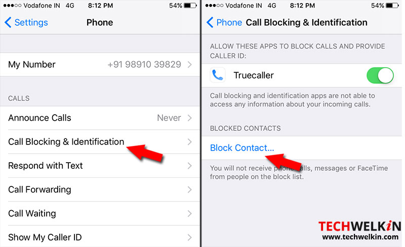 Block contact settings in iPhone
