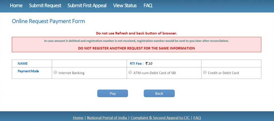 payment for rti application