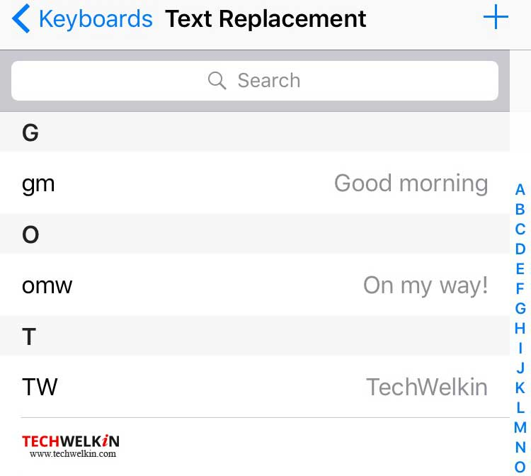 keyboard shortcut phrases in iphone