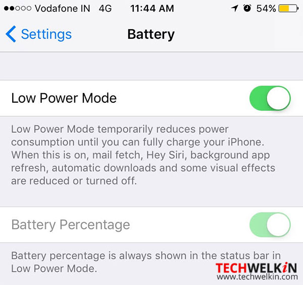 low power mode option in iphone