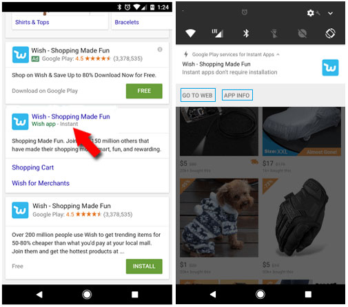 search and use instant apps in Android