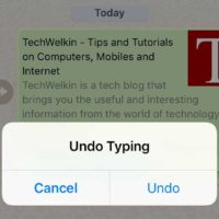 shake device to undo typing in iphone