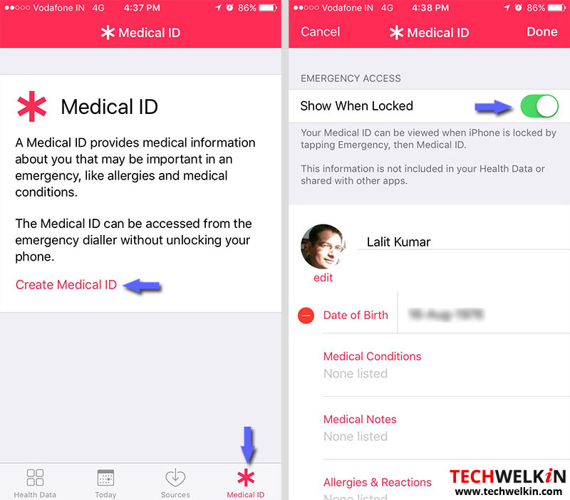create medical id in iphone