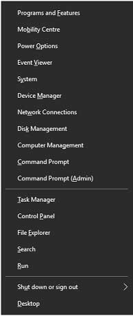 Image showing power user menu in windows 10