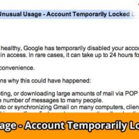 Error message Unusual Usage - Account Temporarily Locked Down