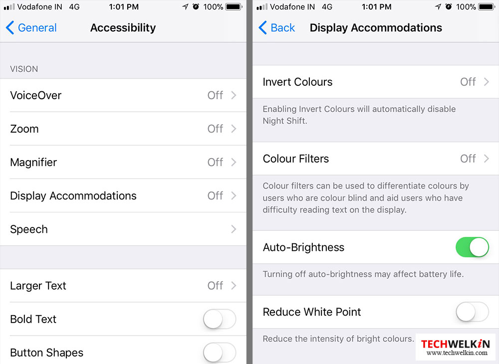 accessibility and display accomodations menu in iOS