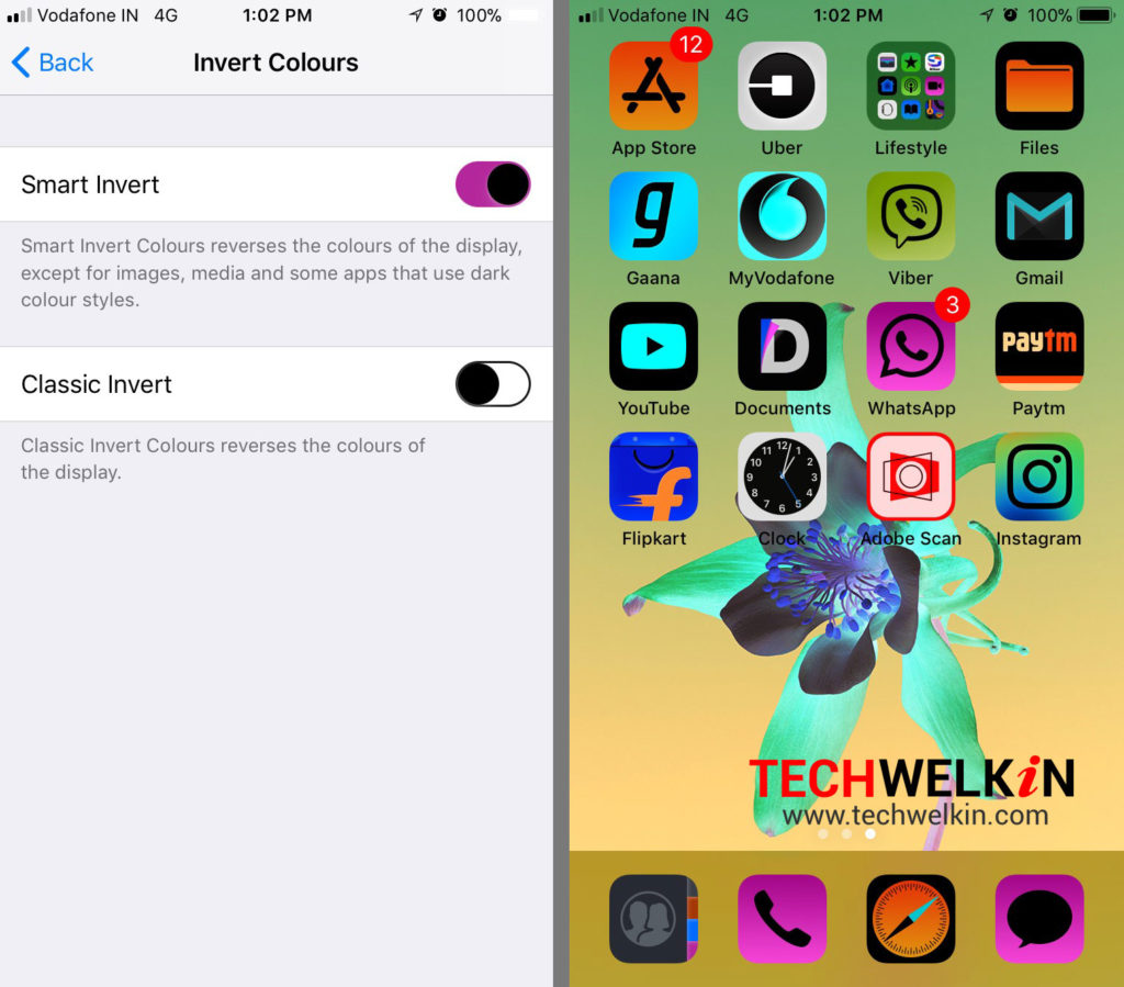 demonstration of invert colors feature in iOS
