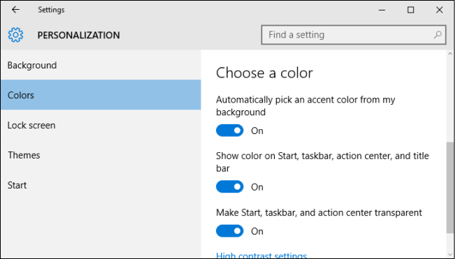 windows 10 color personalization