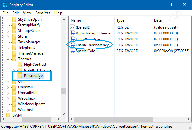 personalize enable transparency key in Windows 10 Registry