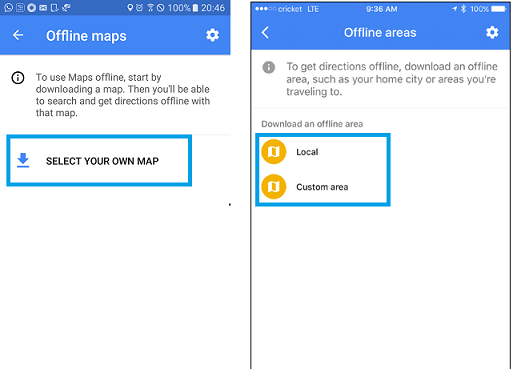 options to download google maps for offline use.