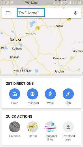 using the downloaded area in google maps in offline mode.