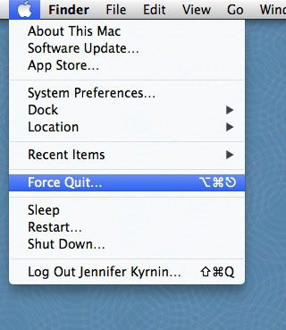 apple menu with force quit option highlighted