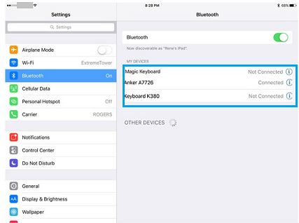 Connecting a Bluetooth device with an iPhone or iPad.