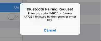 Prompt to enter authorization code while pairing Bluetooth device.