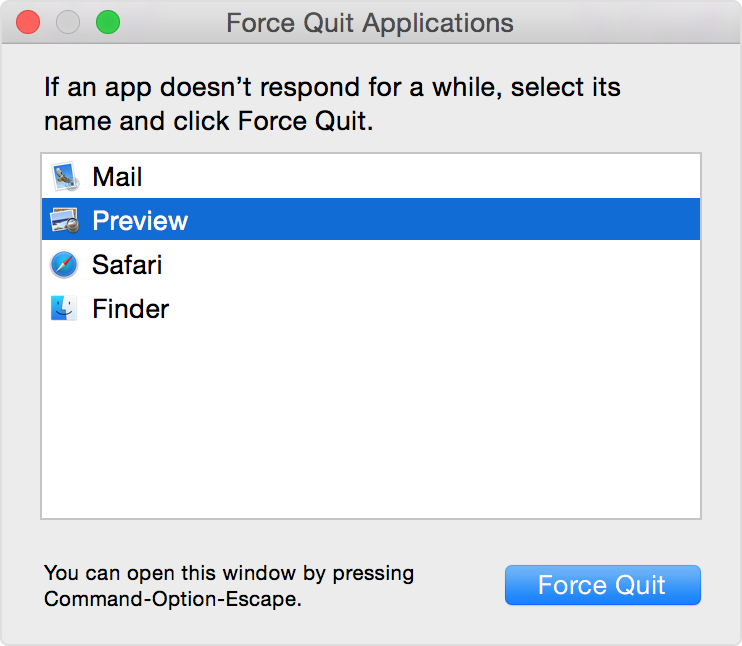 force quit a not responding app in mac computer