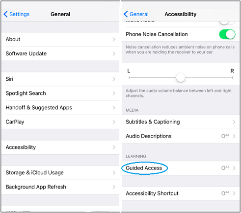 guided access option in iPhone