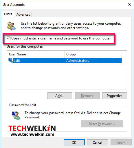 User Accounts: to remove password from windows 10 computer