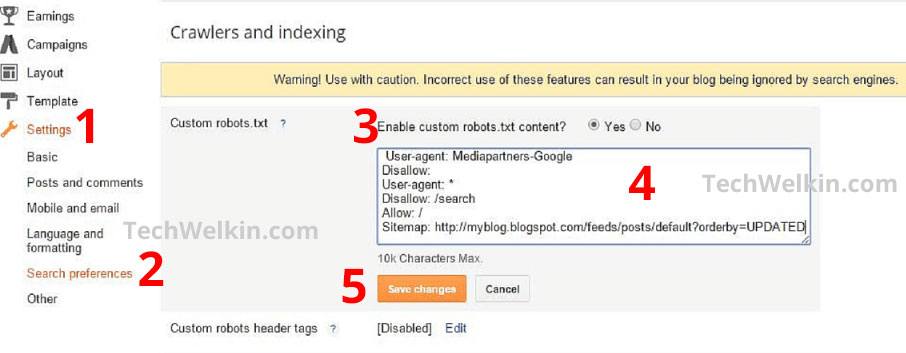 screenshot of how to add custom robots.txt in blogger/blogspot